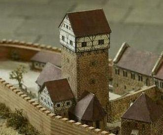 Der Mannsturm, Detail des Modells der ehemaligen Burg Hohenstaufen im Dokumentationsraum für staufische Geschichte am Fuß des Hohenstaufen