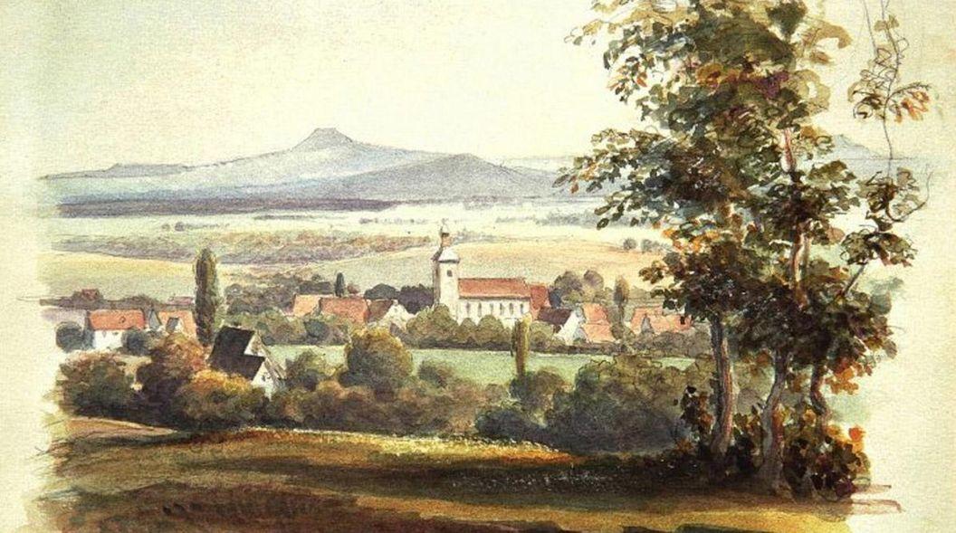Bad Boll mit dem Hohenstaufen, Aquarell von Eduard von Kallee, 1876; Foto: Landesmedienzentrum Baden-Württemberg, Dieter Jäger
